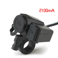 12V Waterproof Socket Motorbike Motorcycle Cigarette Lighter Adaptor 5V 2.1A USB Power Charger Socket
