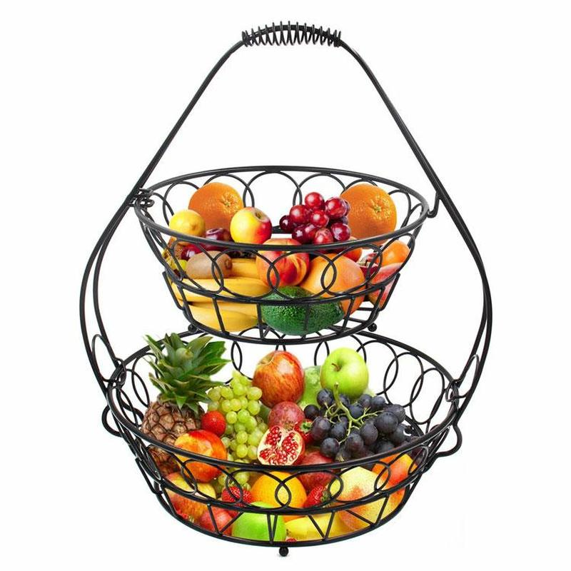 2 Tier op Fruit Basket Holder Decorative Bowl Stand Perfect for Fruit, Vegetables, Snacks, Household Items, and Much More