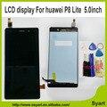 Dhl livre branco preto substituição lite p8 display lcd + touch screen digitador substituição do painel de vidro para huawei ascend p8 lite