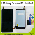 Envío libre de dhl blanco negro repuesto p8 lite lcd display + touch screen panel de cristal digitalizador para huawei ascend p8 lite