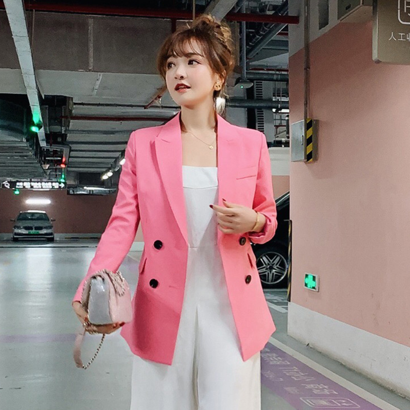 Fashion lady solid color blazer Temperament business jacket double-breasted long-sleeved suit female 2019 new women's clothing