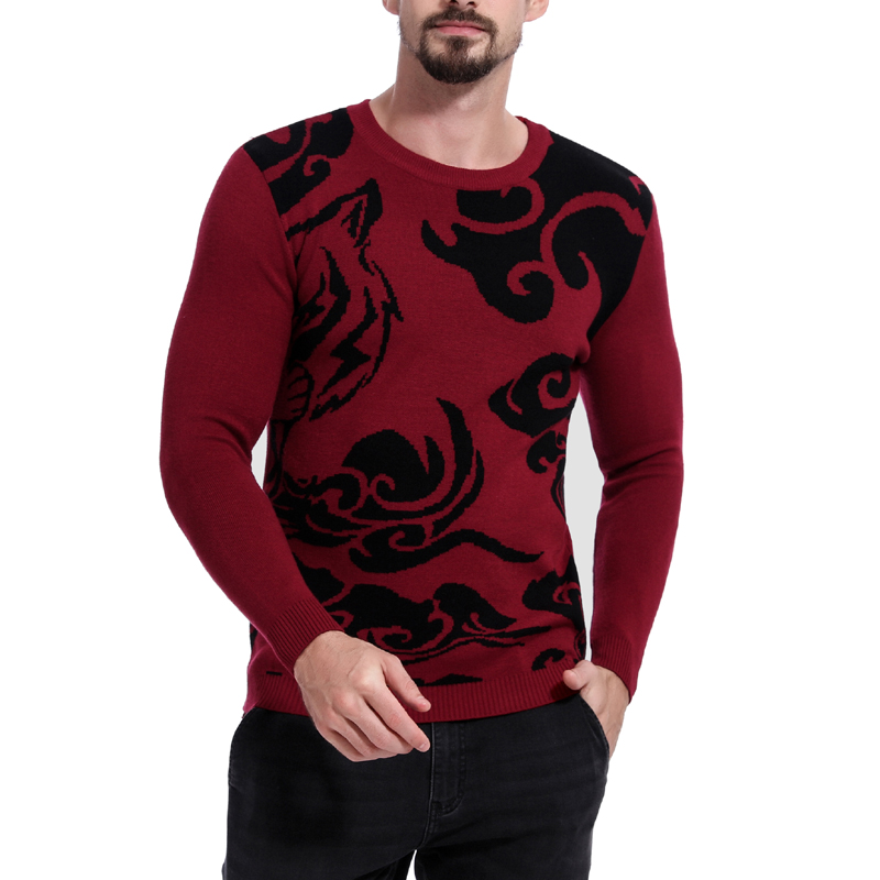 Men's New Casual Sweater Color Matching O-Neck Sweater Loose Fashion Male Pullover Plus Size M-XL