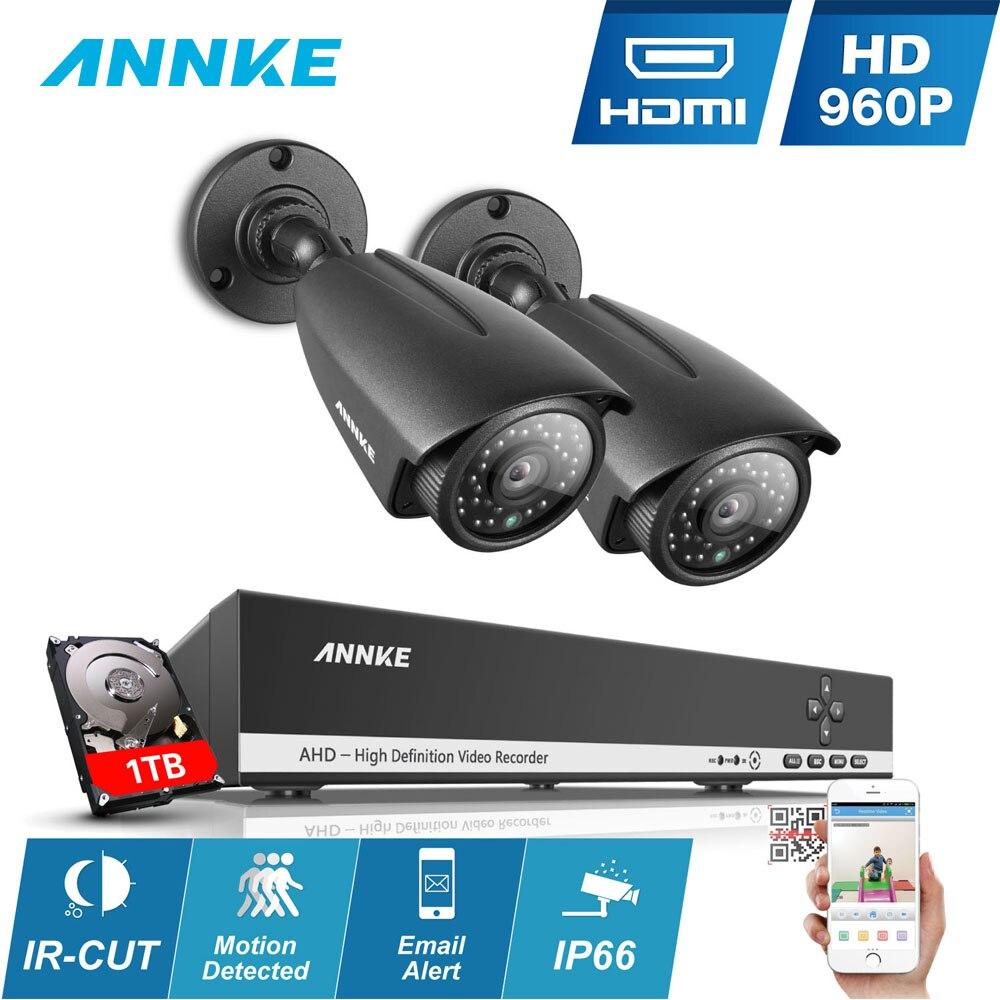ANNKE HD 960P 4CH 2pcs security camera kit dvr video surveillance CCTV KIT system IR Night Vision 1.0MP IP66 DVR Video Recorder цена в Москве и Питере