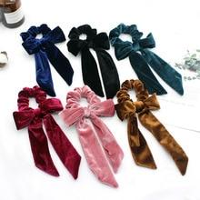 Elastic hair ring velvet flower bow fashion art long with headband accessories