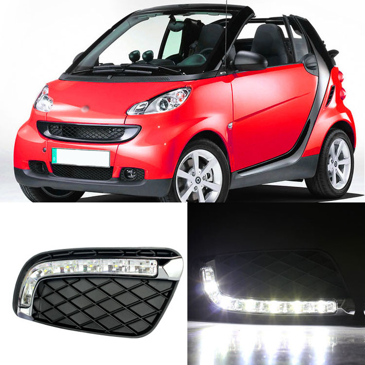 Brand New Updated LED Daytime Running Lights DRL With Black Fog Light Cover For Smart Fortwo 2008-2011 a pair daytime running light drl with for lamp cover for smart fortwo 2008 2010