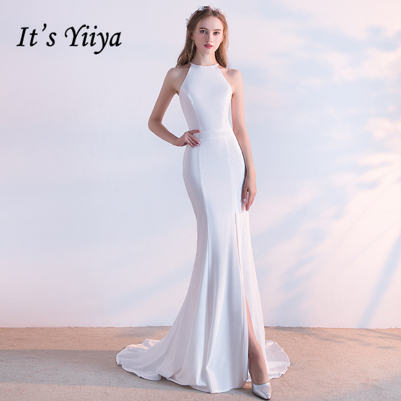 It's YiiYa Simple Little White Halter Neck Sleeveless Court Train Furcal Formal   Dresses   Floor Length Trumpet   Evening     Dress   LX413