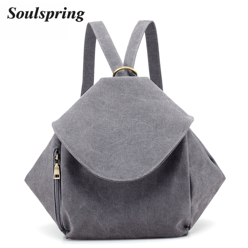 2017 Canvas Backpack Women Fashion Simple Solid Backpacks For Teenager Girls High Quality Female Backpack Women Shoulder Bag New