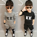 Spring New Children's Clothing South Korean Private Letters Fleece  Suits Shirt Pants Kids Clothes Sets Grey Black