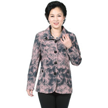 Chinese Middle Aged Woman Floral Print Blazer Pink Beige Short Suit Jackets Mature Lady Casual Turn Down Collar Blazers Button