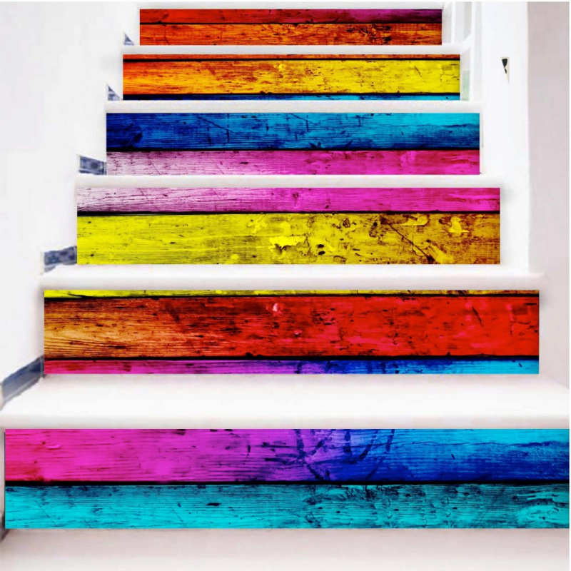 6Pcs 3D Sunshine Waterfall Stair Wall Sticker Home Decor DIY Rivers Landscape Theme Decor Sticker Wall Paper Mayitr2018 New Year