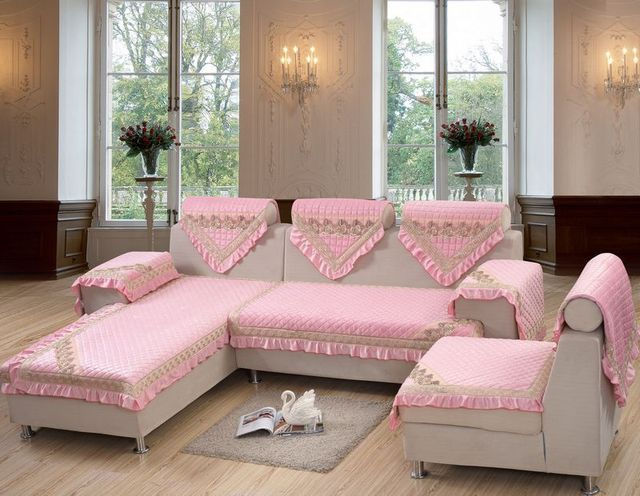 European Style, hot sale sofa cover set, pink color, polyester ...