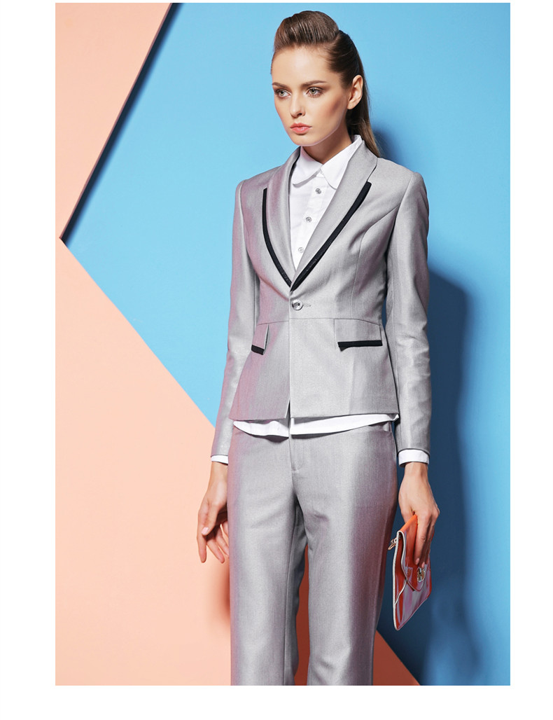 Womens Custom made Silver Business Suits Formal Office Suits 2015 ...