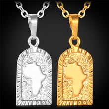 Kpop African Map Pendants Necklaces For Women Or Men Gold/Silver Color High Quality Necklace Pendant P010(China)