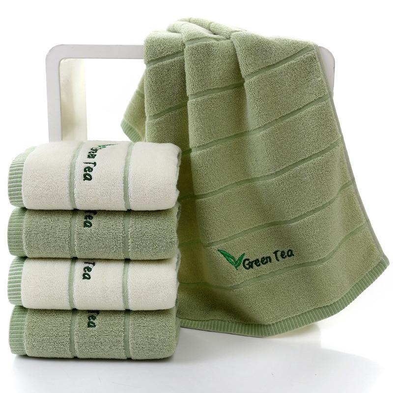 2PCS/lot Super Soft Striped Green Tea Cotton Terry Towels