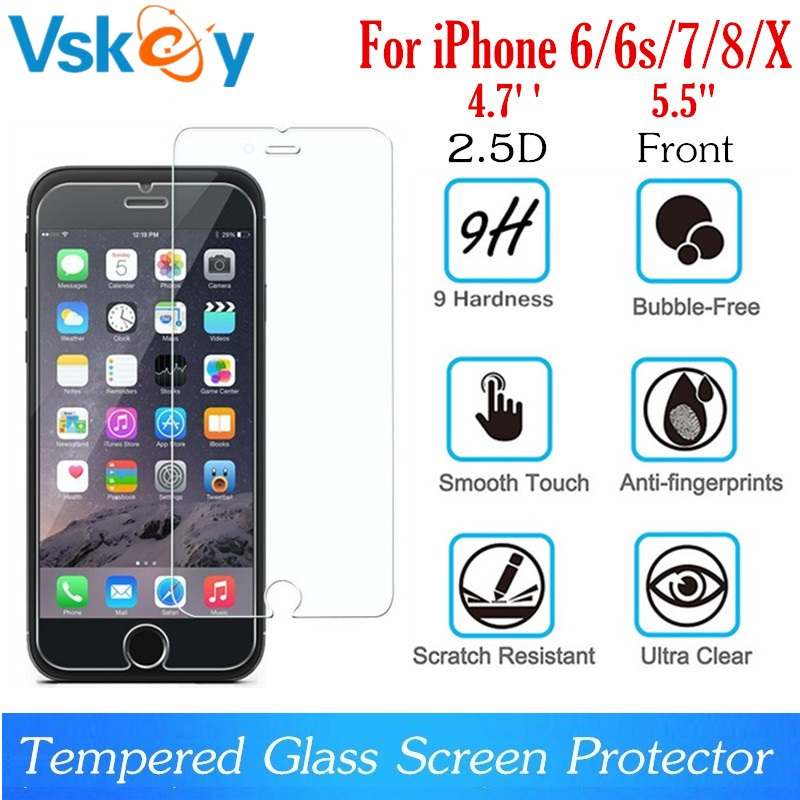 VSKEY 100pcs 2 5D Tempered Glass For iPhone XR XS Max 6 6S 7 8 Plus