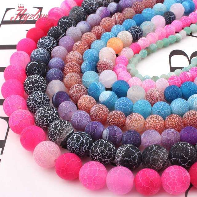 """6,8,10,12mm kule Ball Frost pęknięty agaty luźne koraliki z kamienia naturalnego dla naszyjnik DIY bransoletka tworzenia biżuterii Strand 15"""""""