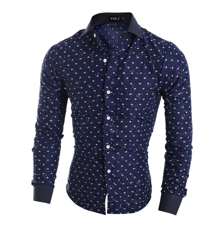 1e039c97a215 Dropshipping camisa masculina Men's Casual Long Sleeve Printing Casual  Shirt Slim Fit Men Shirts camisa social masculina-in Tuxedo Shirts from  Weddings & ...