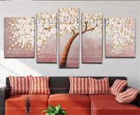 5 Pieces Panel Palette Knife Hand Painted Flower Abstract Modern Oil painting Canvas Wall Pictures Art Painting For Living Room9