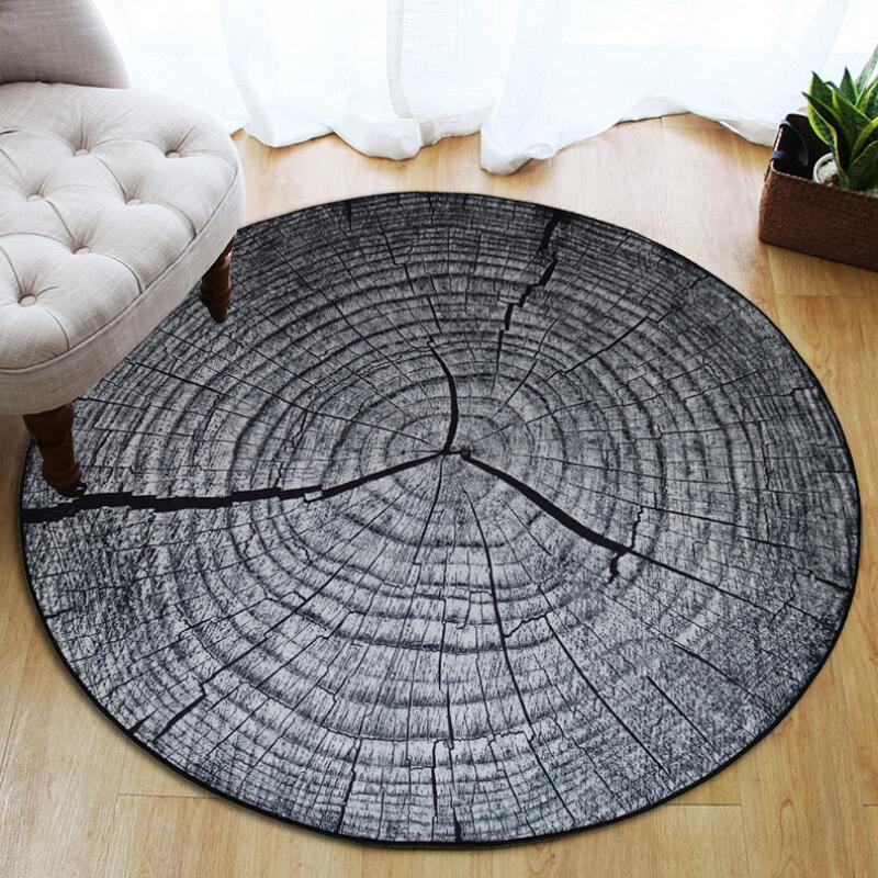 Круглый ковер в скандинавском стиле с деревянным зерном, индивидуальный креативный журнальный столик для спальни, компьютерное кресло, нескользящий коврик, домашний декор - Цвет: Dark gray
