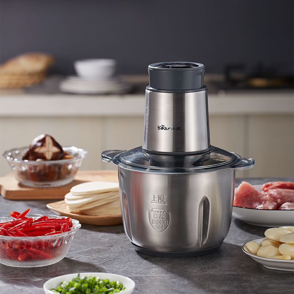 Bear Portable Full Stainless Steel Electric Meat Grinders 2 Gears 2L 300W Copper Engine Blenders Stand Mixers Kitchen Aid bear portable electric meat grinders 2l 300w 2 gears glass mini blenders 4 blades copper engine meat cutter kitchen appliances