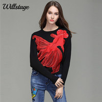 Willstage Women Sweater red goldfish Embroidery Bead diamond Print Casual Knitting Tops 2018 Spring Autumn long sleeve pullover