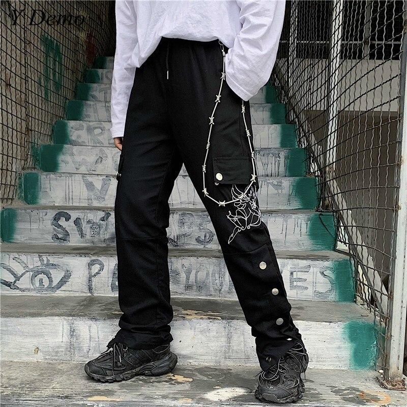 Harajuku Waist Drawstring Couple Embroidery   Pants   Side Buttons   Wide     Leg     Pants