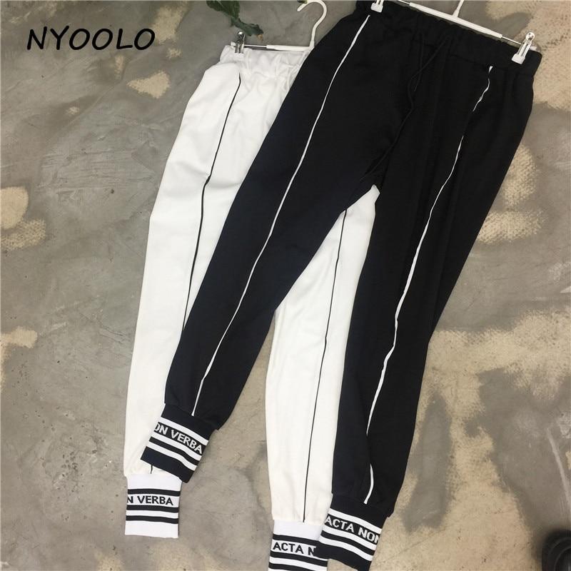 NYOOLO Herbst winter jogginghose mode letters striped patchwork elastische taille plus samt casual zeichnen hosen frauen//männer
