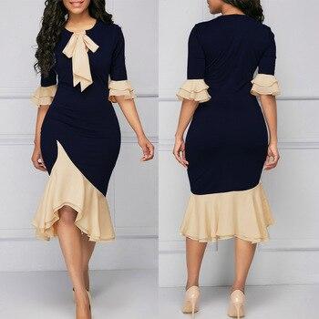 6d467d1992c 2018 модное платье-футляр с рюшами и манжетами - b.enquesta.me