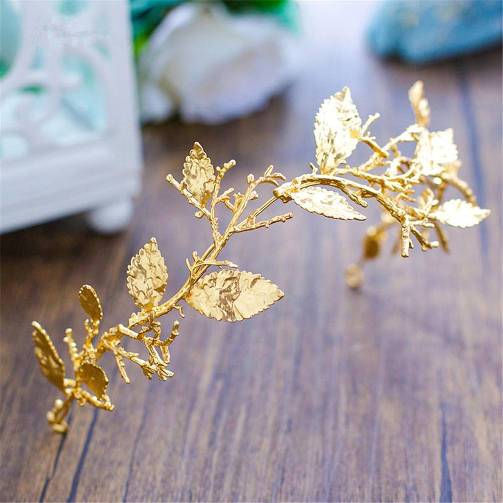 Gold Leaf Baroque Tiara Headband Flower Crown Hair Jewelry