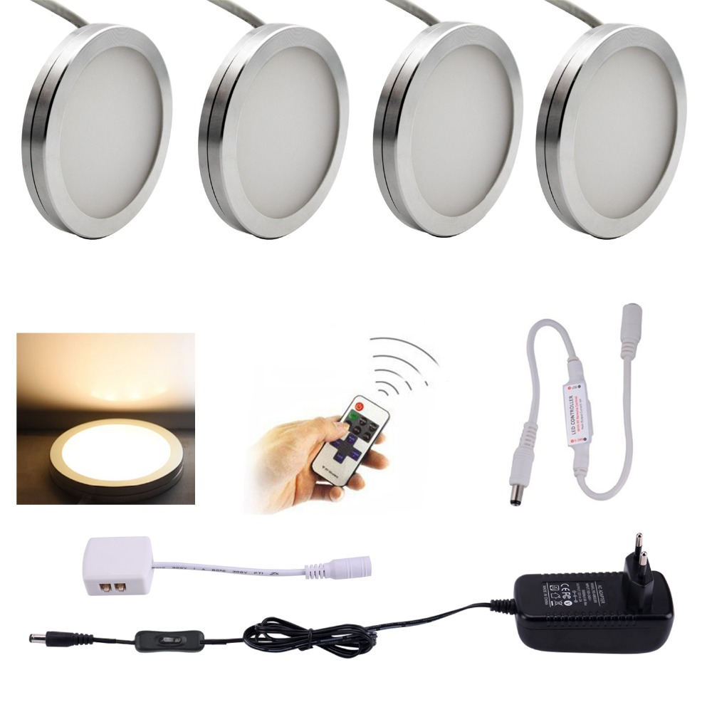 AIBOO LED Under Skåp Belysning 4PCS LED Puck Lights med Wireless RF Remote Dimbar för Under Counter, Hylla Möbler Lights