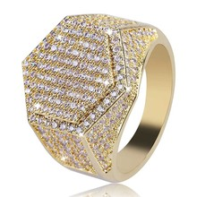 Geometric Micro Paved Cubic Zirconia Crystal Wide Rings For Men Hip Hop Ring Gold Color Wedding Birthday Gift
