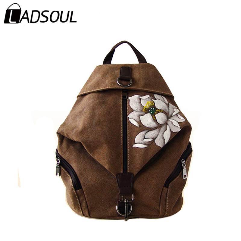 Ladsoul Chinese Style Canvas Women Backpack Casual Landscape Printing High Quality Versatile Vintage Concise Girl Bags A3527/h