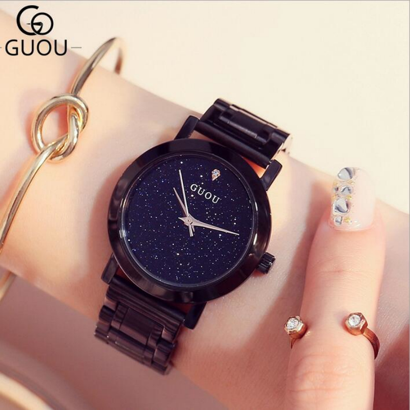 GUOU Watch Luxury Brand Diamond Quartz Women Watches Rhinestone Ultra Thin Black Stainless Steel Watch Clock