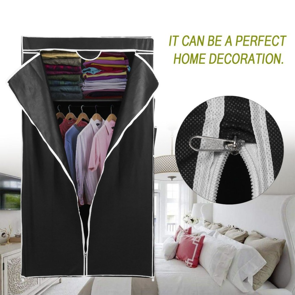 Double Open DIY Canvas Bedroom Wardrobe Clothes Closet Hanging Clothing  Garment Clothes Storage Organizer Black