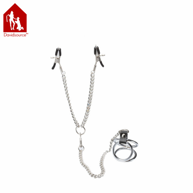 Davidsource Clothespin Nipple Clamps WIth Chain & Triple Cock Ring Restrait Metal Breast Clips Adult Fetish Sex Toy