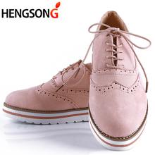 Women Casual Shoes Lightweight Fashion Design Flats for Lady Big Size Lace-Up Women Shoes 35-43 Rubber Brogue Shoes