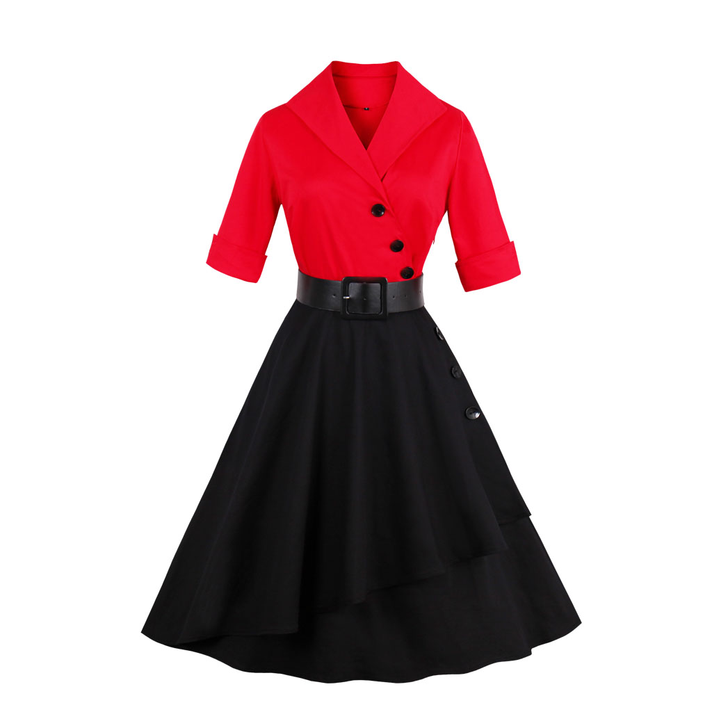 Frauen Sommer Blume Floral Baumwolle Frauen Roten Kleid Drehen Unten ...
