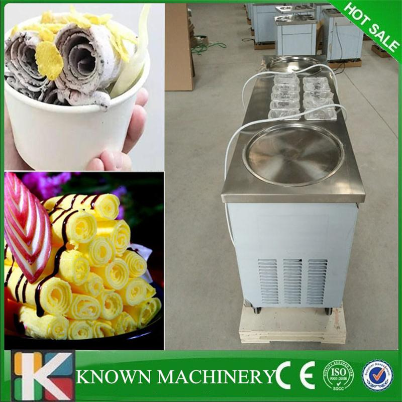 Best Seller R410 Refrigerant Stainless Steel 2 Round Pans With 10 Cooling Tanks Fried Ice Cream Machine 110v/220v