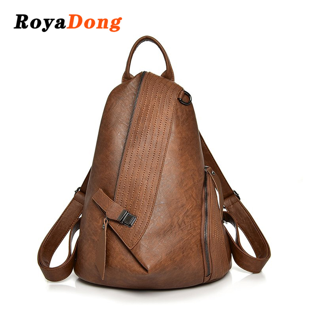 Royadong Brand 2019 Vintage Women Backpack Soft Leather Fashion Girls Backpacks Big Travel Bag School Bags Ladies Suckback