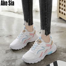 Ake Sia New Fad Feminine Women Mujer Mesh Air Breathable Casual Walking Lace Up Zapatos Flat Boards Travel Vulcanized Shoes A122