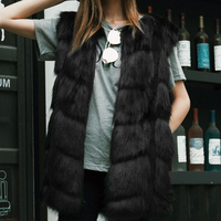 Women Winter Vest Sleeveless Outerwear Coat Faux Fur Casual Waistcoat Jacket 3XL