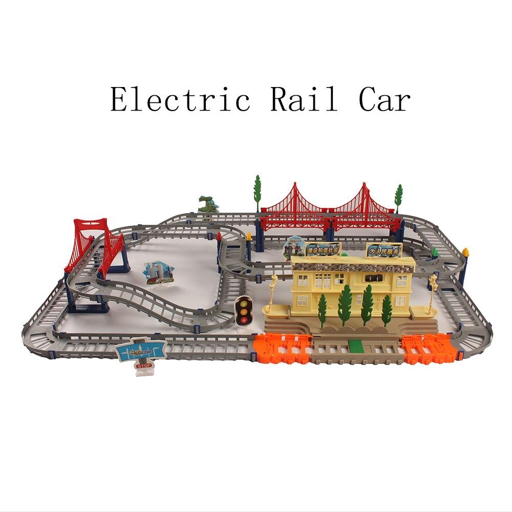 2019 Ferroviaire Racing Route Puzzle Éducatifs Simulation Sûr Définit BRICOLAGE Électrique Rail De Voiture Train Piste Modèle Jouet Cadeau Pour Les Enfants