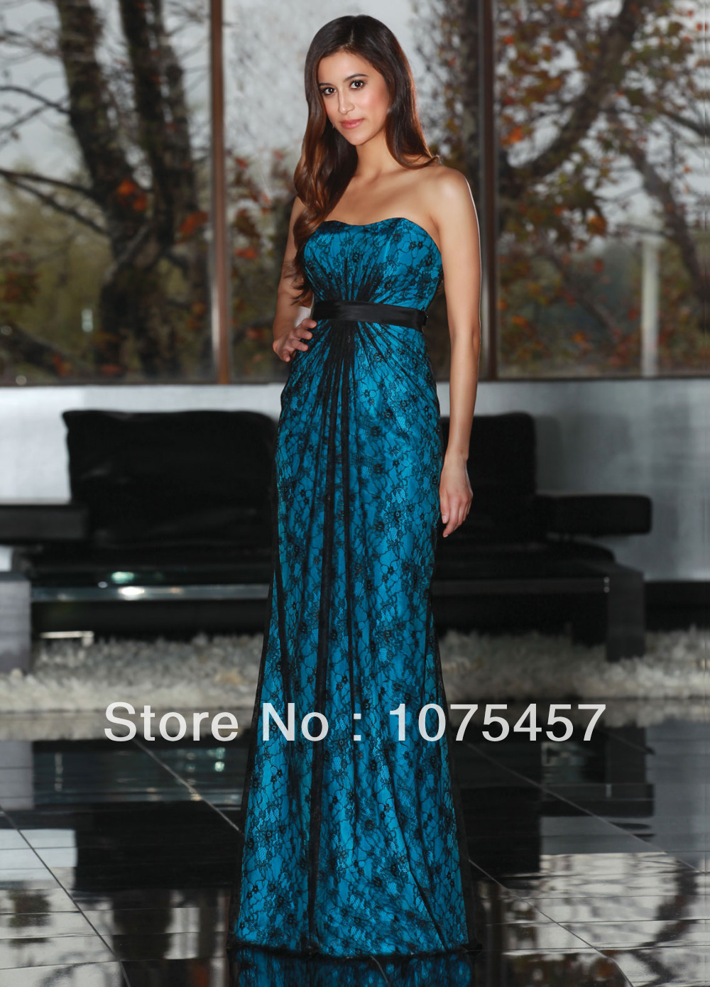 Long Black Bridesmaid Dresses With Turquoise Sash