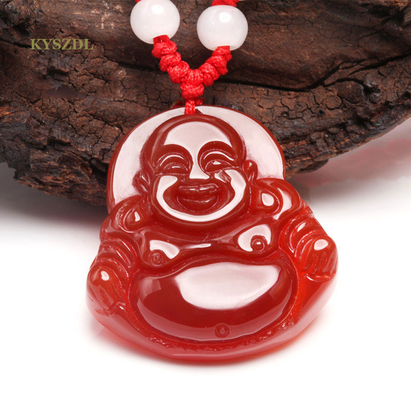 KYSZDL Rare Nateral red stone Pure Hand Polished Carving Laughing Buddha and Guanyin stone Pendant gift for men and women in Pendants from Jewelry Accessories