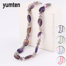 Yumten Natural Amethyst Necklace Crystal Bead Chain Women Star Jewelry Stone Statement Accessories Gemstone Collier Homme Punk yumten agate necklace gemstone beads natural stone colares women jewelry crystal accessories statement females chain gioielli