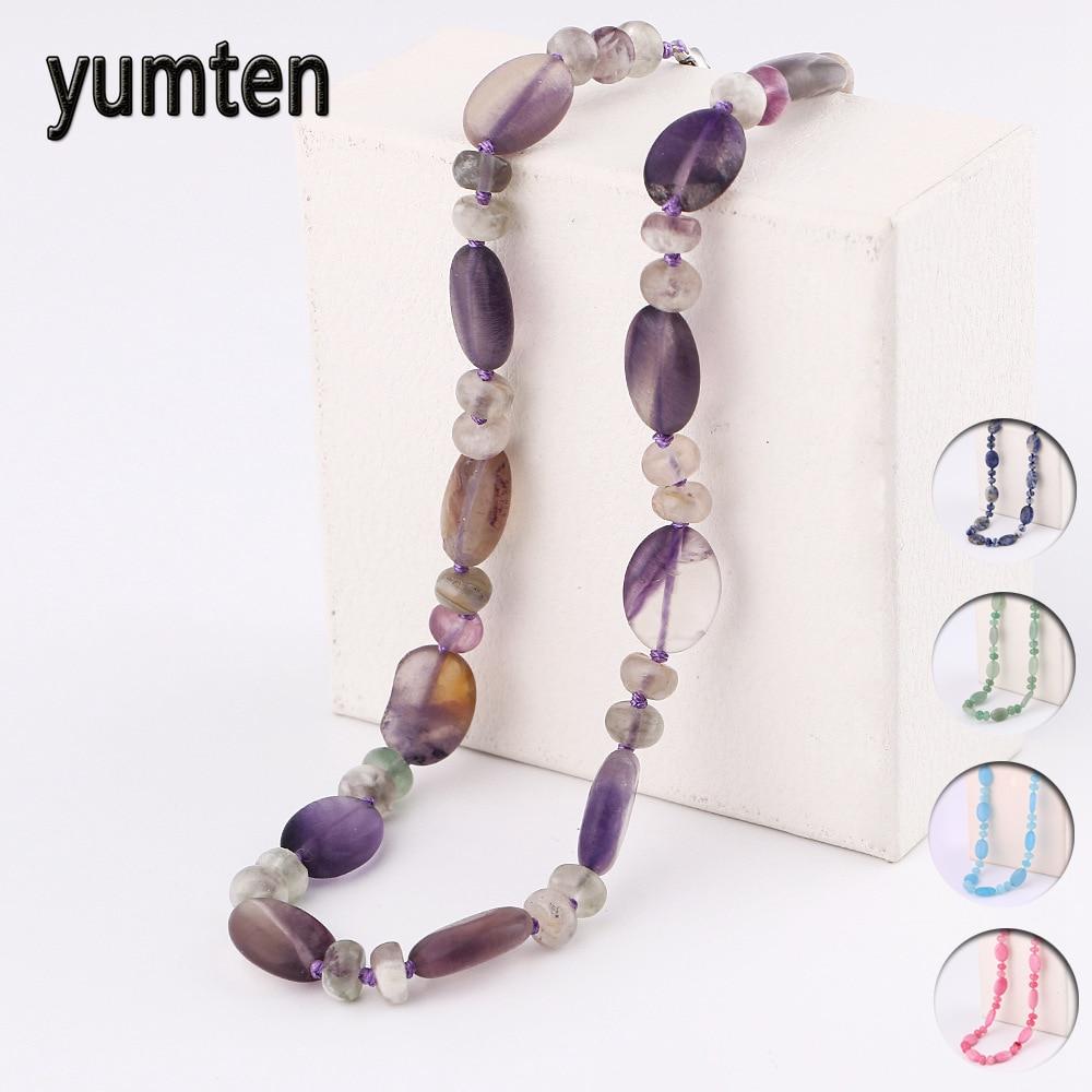 Yumten Natural amatista collar Cadena de cuentas de cristal mujeres estrella piedra joyería accesorios declaración Gemstone Collier Homme Punk