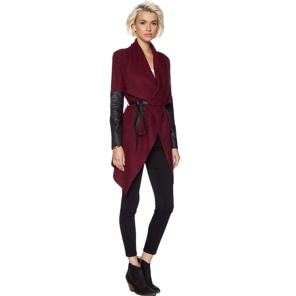 New Winter Women Caot Waterfall Front Cape Coat PU Leather Long ...