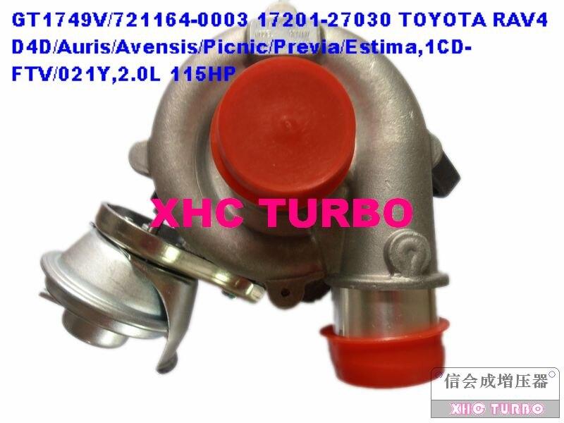 Nouveau turbocompresseur GT1749V/721164 17201-27030 pour TOYOTA RAV4 Auris Avensis pique-nique Previa, 1CD-FTV/021Y 2.0L 115HP 2001-