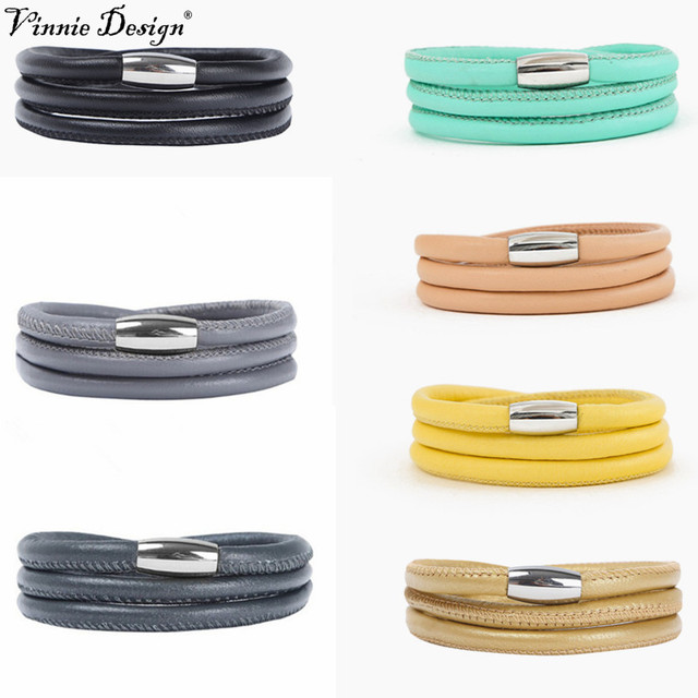 Vinnie Design Jewelry Three Layer 60cm Endless Leather Bracelet For Diy Story Charms 5pcs Lot