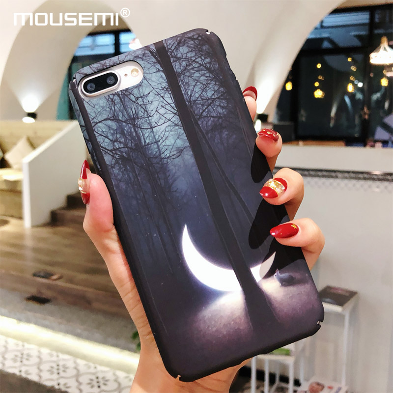 CAPAME  For iPhone 6 6s X 7 8 Case Hard Cover Luminous Moon Print Full Cover Phone Cases On 7 For iPhone 7 6 5s se 8 Plus X Case iPhone